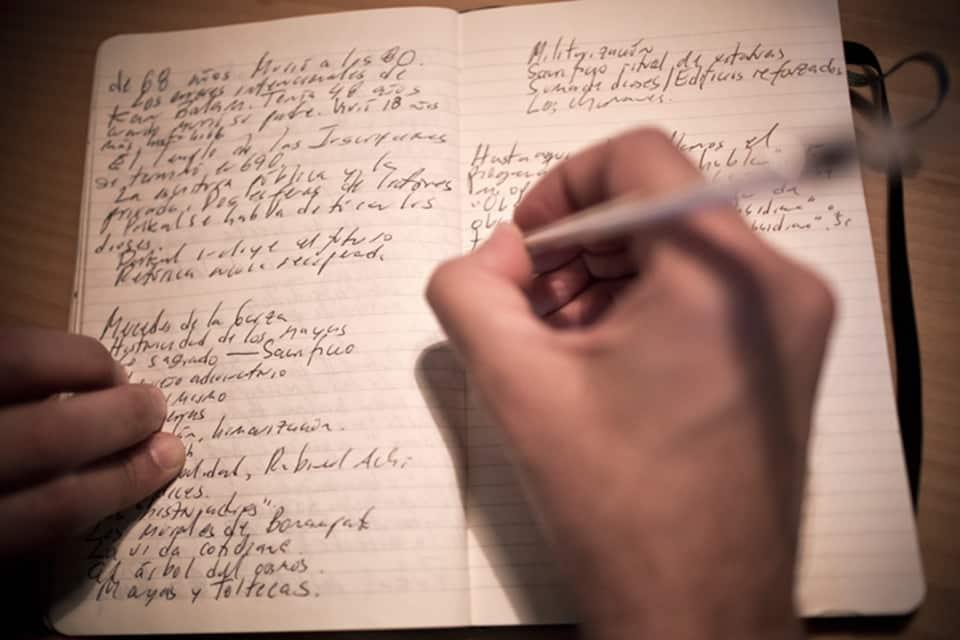 Juan Villoro en cuaderno