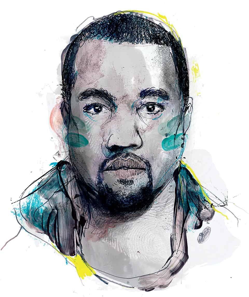 Kanye West. Ilustración de Zé Otavio.