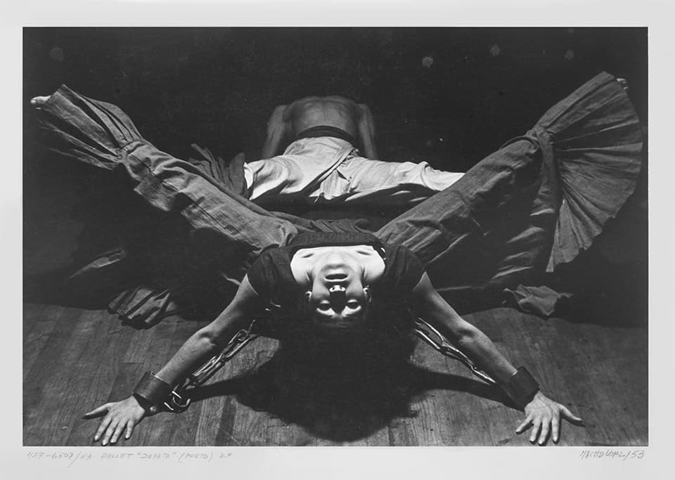 """De la serie """"Zapata"""", (1953). Coreografía: Guillermo Arriaga; Bailarines: Rocío Sagaón y Guillermo Arriaga; Música: """"Tierra de temporal"""" de José Pablo Moncayo; Escenografía y vestuario: Miguel Covarrubias."""
