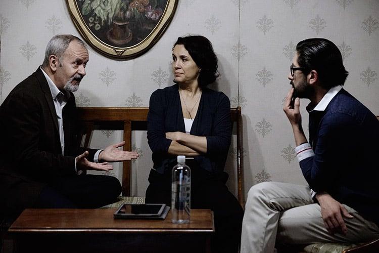 """Luis Miguel Lombana, Verónica Merchant y Hamlet Ramírez en """"Enamorarse de un incendio""""."""