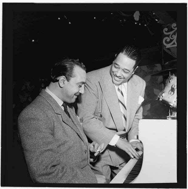 Django Reinhardt y Duke Ellington en el Aquarium, Nueva York.