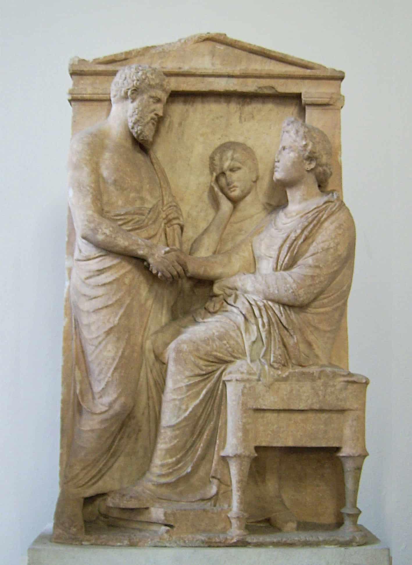 Estela funeraria De Thrasea y Euandria, Mármo, ca. 375-350 bc.