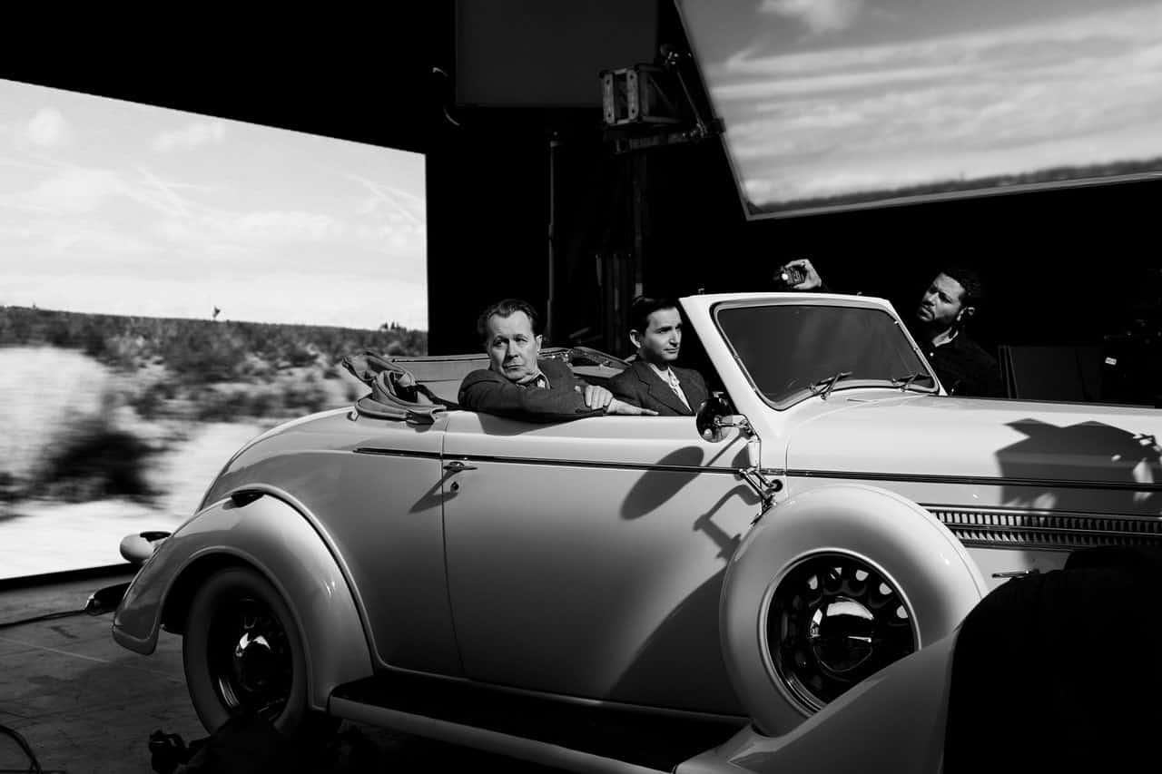 Detrás de cámaras de Mank (2020) de David Fincher.